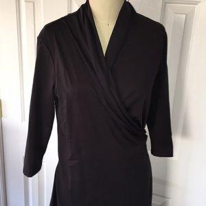 J. McLaughlin faux wrap stretch black dress euc